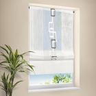 raffrollo leinenlook halbtransparenter stoff mit tunnel oder klettband brau. Black Bedroom Furniture Sets. Home Design Ideas