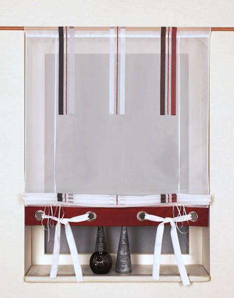 b ndchen raffrollo voile verus mit tunnel stangendurchzug gr n rot multicolor raffrollos. Black Bedroom Furniture Sets. Home Design Ideas
