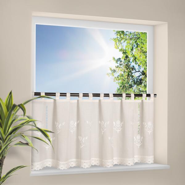 stickereibistro voile halbtransparenter stoff mit schlaufen natur riva gardinen. Black Bedroom Furniture Sets. Home Design Ideas