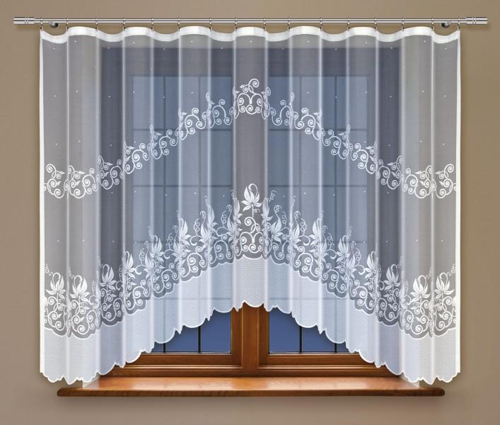 bogenstore f r blumenfenstergardine mit gardinenband jacquard halbtransparent stoff wei. Black Bedroom Furniture Sets. Home Design Ideas