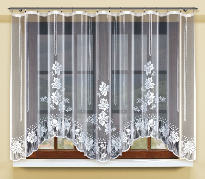 bogenstore f r blumenfenstergardine mit gardinenband jacquard halbtransparent stoff wei. Black Bedroom Furniture Sets. Home Design Ideas