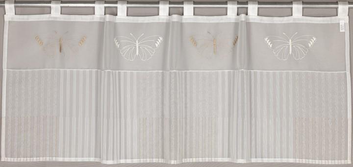 schlaufenpanneaux stick marta stangendurchzug braun ecru scheibengardinen bistrogardinen. Black Bedroom Furniture Sets. Home Design Ideas