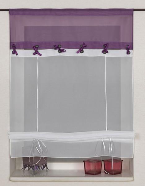 binderraffrollo voile basilius mit tunnel overgine wei raffrollos raffgardinen einfarbig. Black Bedroom Furniture Sets. Home Design Ideas