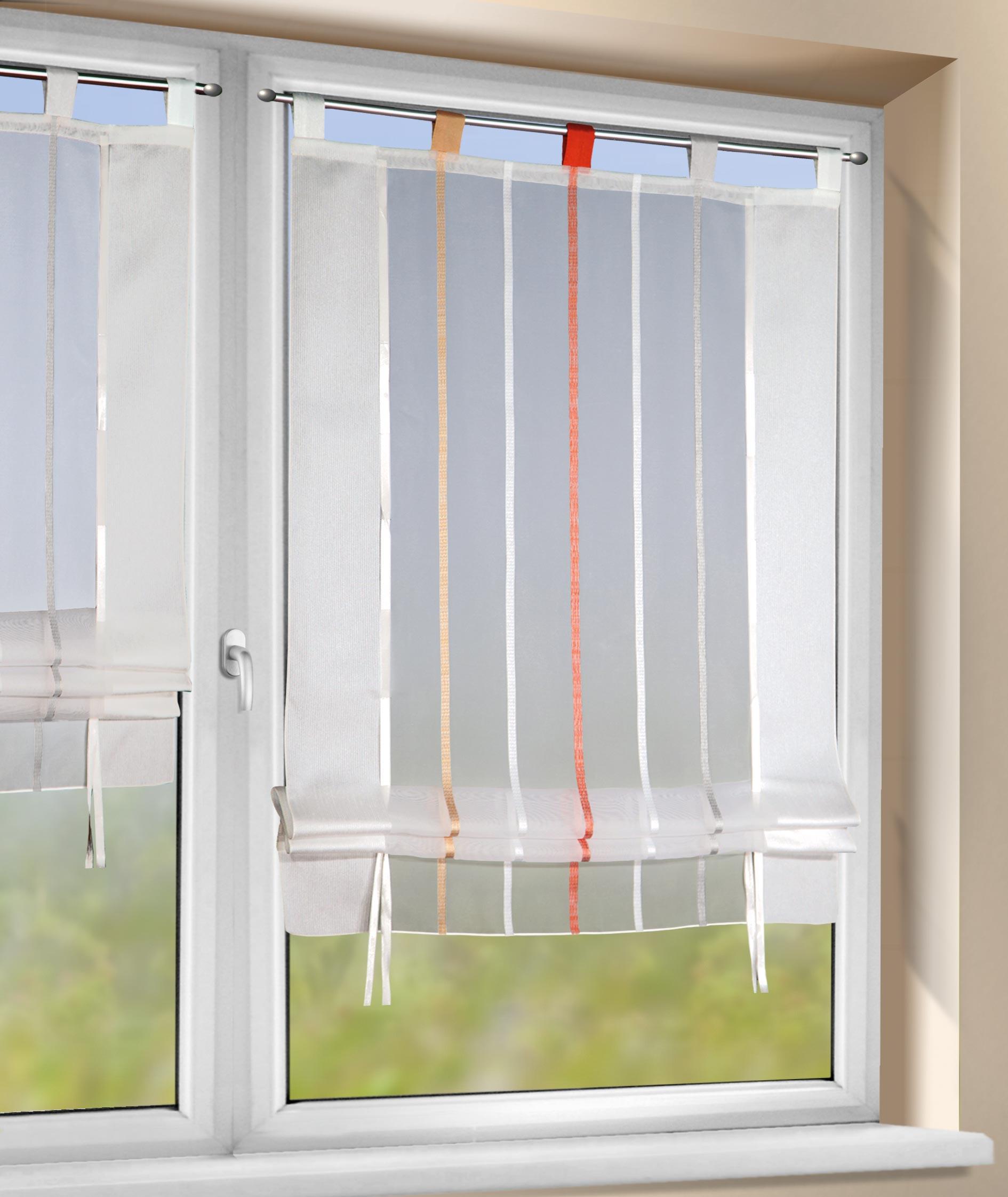 b ndchenrollo mit schlaufen stangendurchzug volante scheibengardinen fertiggardinen. Black Bedroom Furniture Sets. Home Design Ideas