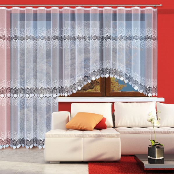 fertig gardine mit gardinenband jacquard halbtransparent stoff wei sobek klassisch. Black Bedroom Furniture Sets. Home Design Ideas