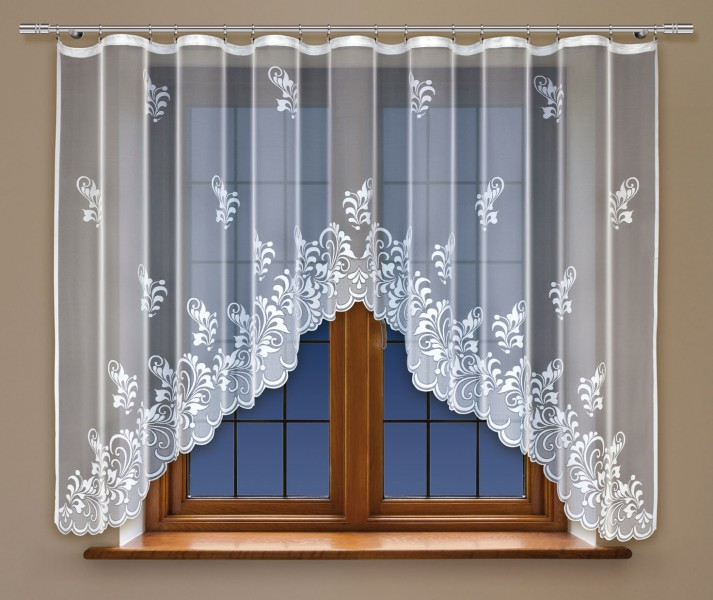 bogenstore f r blumenfenstergardine mit gardinenband jacquard halbtransparent stoff wei clio. Black Bedroom Furniture Sets. Home Design Ideas