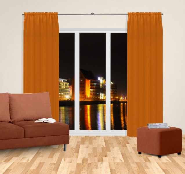 gardine nach ma mit tunnel k pfchen blickdicht verdunkelung black out carrot orange sil. Black Bedroom Furniture Sets. Home Design Ideas