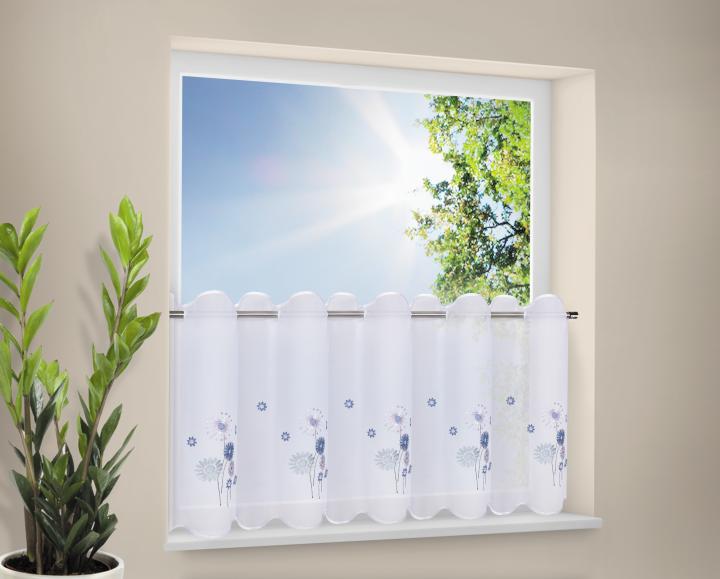 stickereibistro voile halbtransparenter stoff mit stangendurchzug blau bl mchen. Black Bedroom Furniture Sets. Home Design Ideas