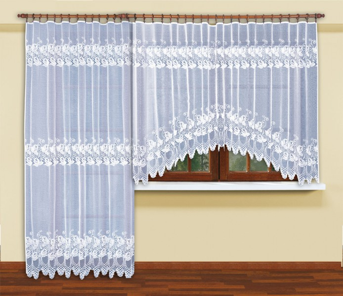 fertig gardine mit universal gardinenband jacquard halbtransparent stoff wei bellona. Black Bedroom Furniture Sets. Home Design Ideas