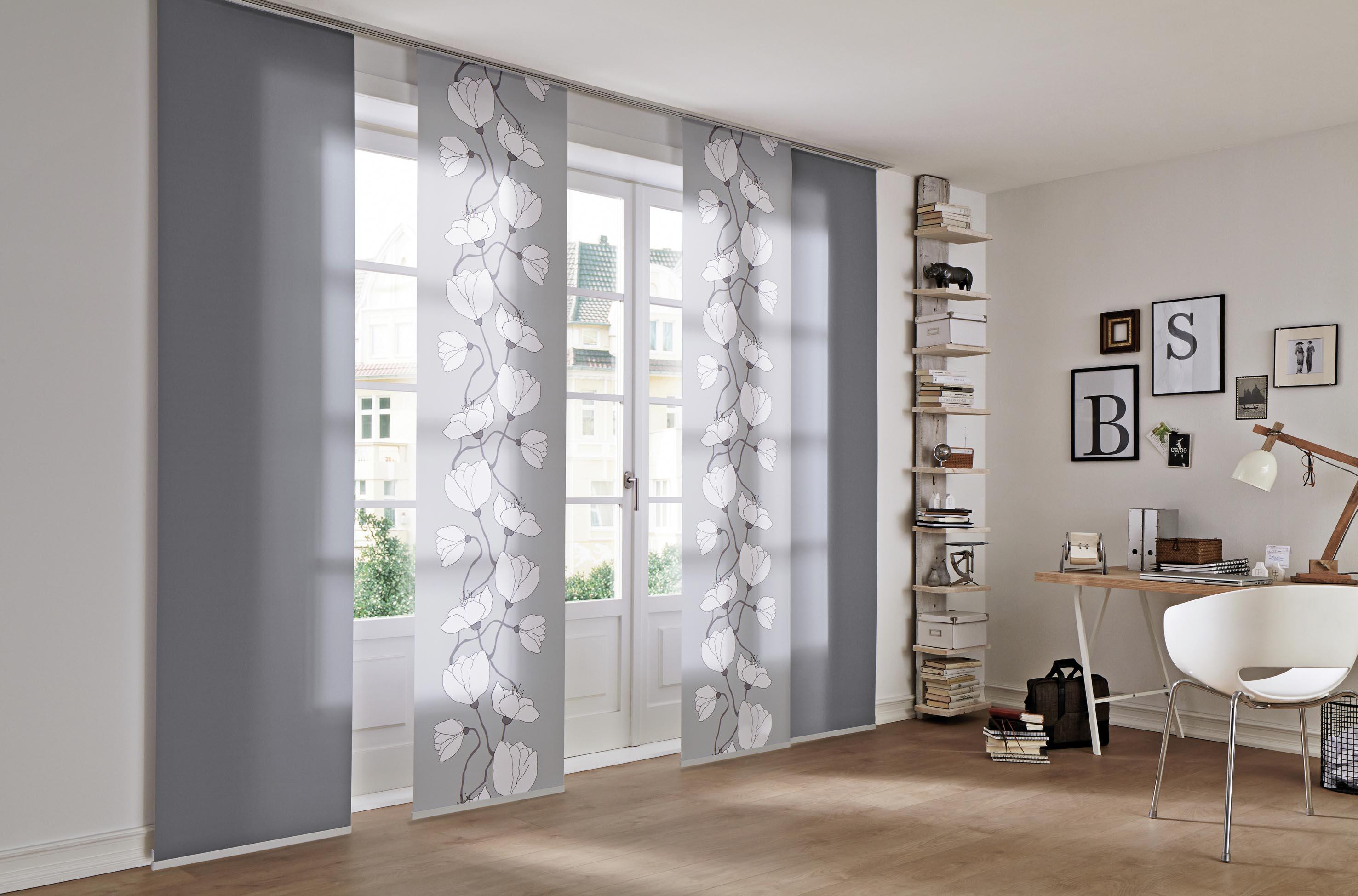 fixma fl chenvorhang stoff mit abschlussprofil uni schiebegardinen fertiggardinen. Black Bedroom Furniture Sets. Home Design Ideas