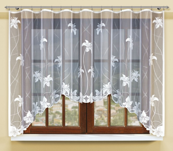 bogenstore f r blumenfenstergardine mit gardinenband jacquard halbtransparent stoff wei aqua. Black Bedroom Furniture Sets. Home Design Ideas