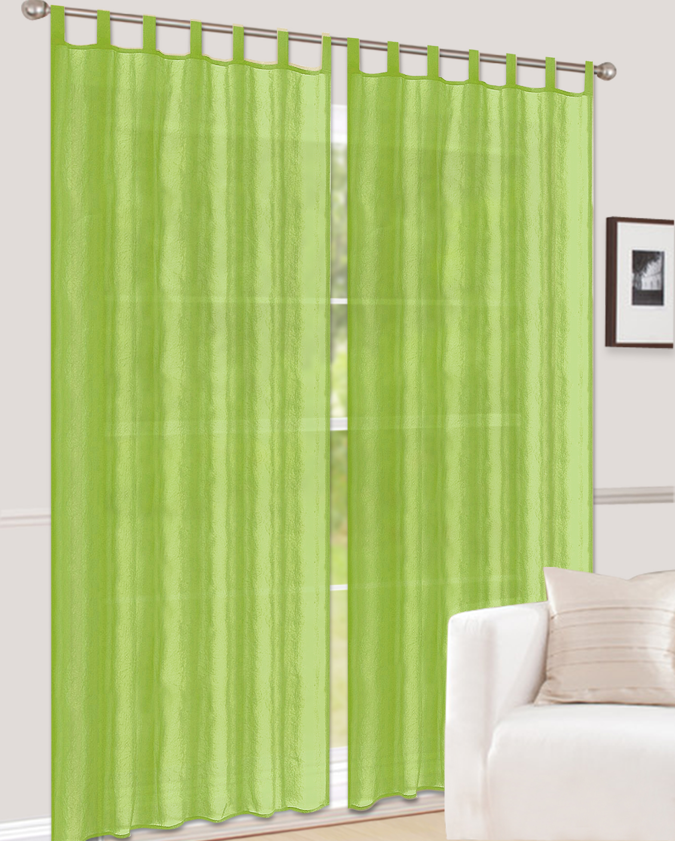 schlaufenschal gemustert halbtransparent gecrasht gr n silvestra sale bn gardinen online shop. Black Bedroom Furniture Sets. Home Design Ideas