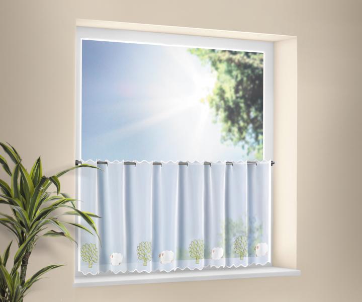 stickereibistro voile halbtransparenter stoff mit stangendurchzug wei gabrielle. Black Bedroom Furniture Sets. Home Design Ideas