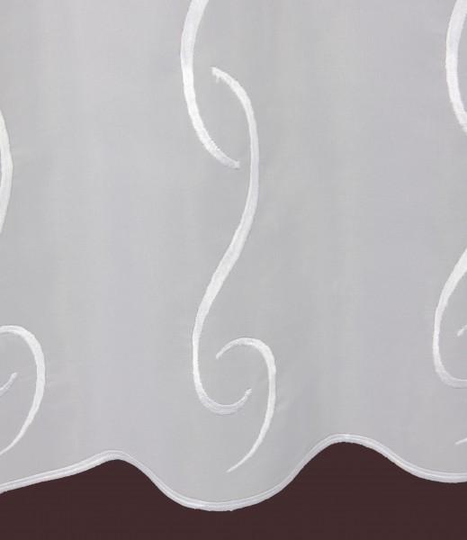 kurzstore nach ma wei snake h he 55cm scheibengardinen nach ma mit echter stickerei. Black Bedroom Furniture Sets. Home Design Ideas