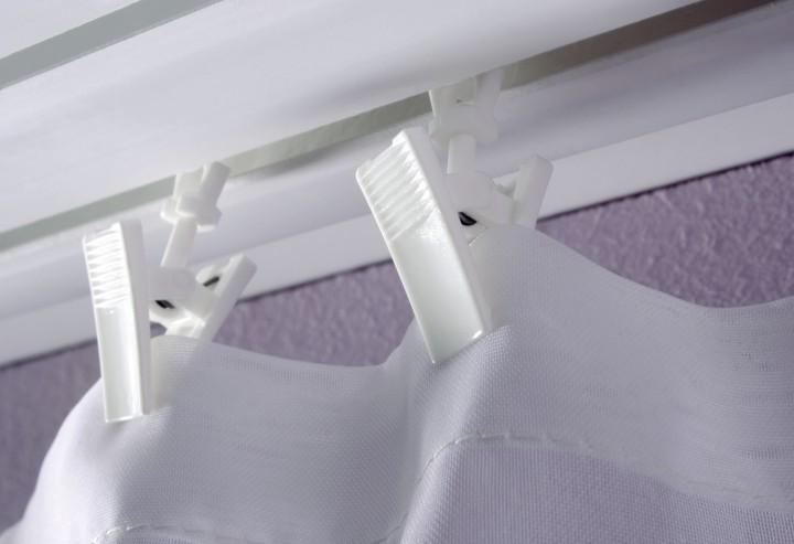 Rollring mit Klammer weiß | Vorhangschiene Zubehör