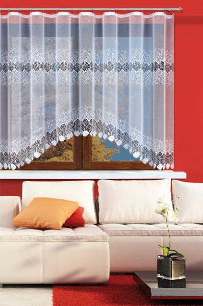 fertig gardine mit gardinenband jacquard halbtransparent stoff wei sobek klassisch. Black Bedroom Furniture Sets. Home Design Ideas