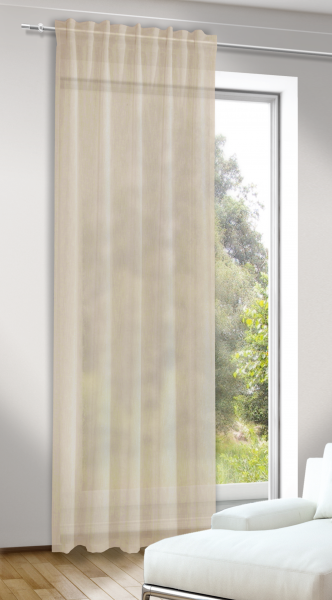 schlaufenschal mit verdeckten schlaufen naturoptik halbtransparenter stoff jasmin. Black Bedroom Furniture Sets. Home Design Ideas