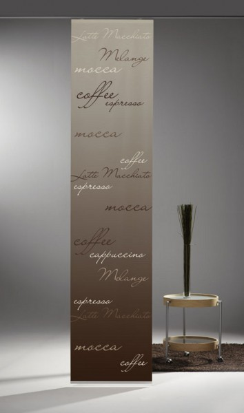 schiebegardine digital bedruckt blickdicht mit flauschband inkl zubeh r coffee. Black Bedroom Furniture Sets. Home Design Ideas