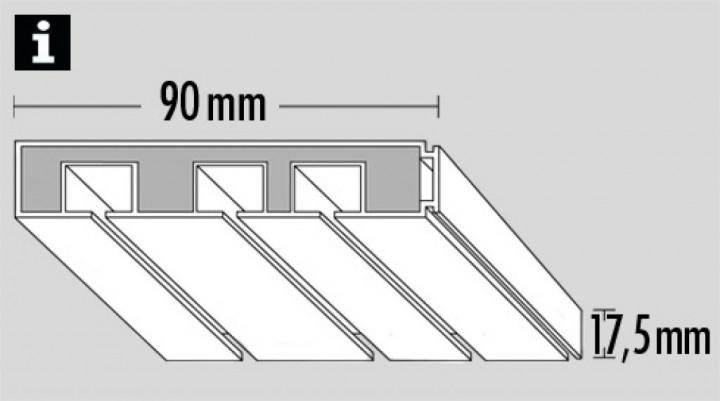 gardinenschiene 3 l ufig wei am29 hitoiro. Black Bedroom Furniture Sets. Home Design Ideas