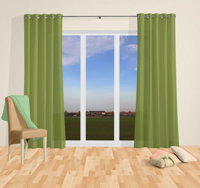 senvorhang einfarbig blickdicht sable gr n valor senschals fertiggardinen gardinen. Black Bedroom Furniture Sets. Home Design Ideas