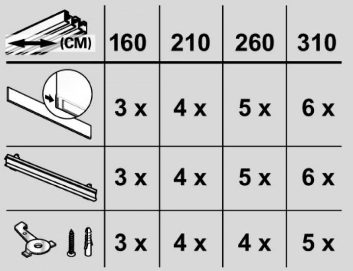 fl chenvorhangschiene 3 l ufig komplett set wei silber fl chenvorhangschienen. Black Bedroom Furniture Sets. Home Design Ideas