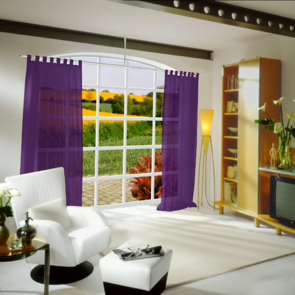 gardinen uni voile nach ma schlaufenschal voile. Black Bedroom Furniture Sets. Home Design Ideas