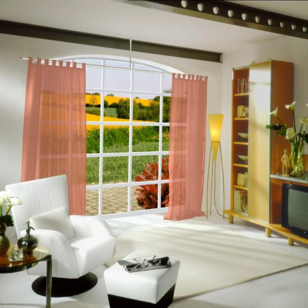 gardinenstoff ezel halbtransparent uni dunkle lachsfarbe top qualit t gardinenstoffe voile. Black Bedroom Furniture Sets. Home Design Ideas