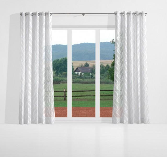 gardinen nach ma senschal jacquard voile wei cayo gardinen nach ma senschals gemustert. Black Bedroom Furniture Sets. Home Design Ideas