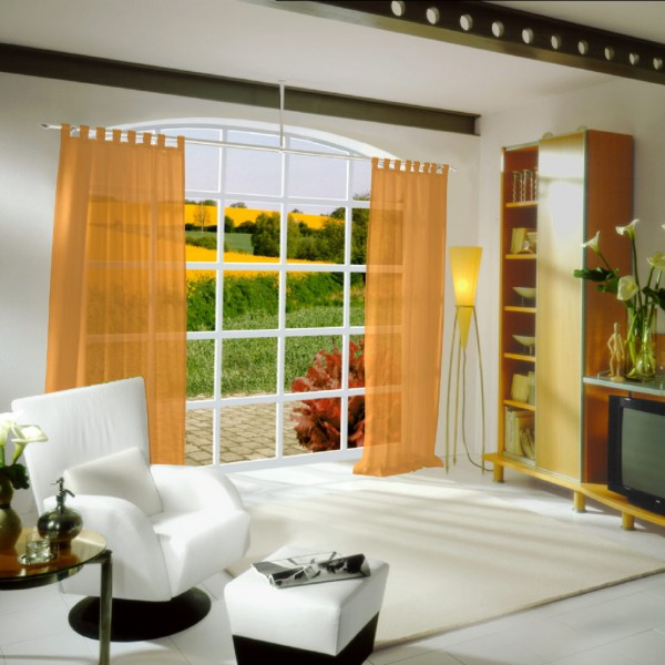 gardinen uni voile nach ma schlaufenschal voile neon carrot orange gardinen nach ma. Black Bedroom Furniture Sets. Home Design Ideas