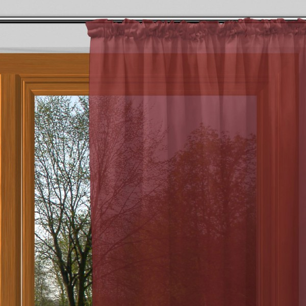gardinen uni voile nach ma kr uselband voile paprika rot. Black Bedroom Furniture Sets. Home Design Ideas