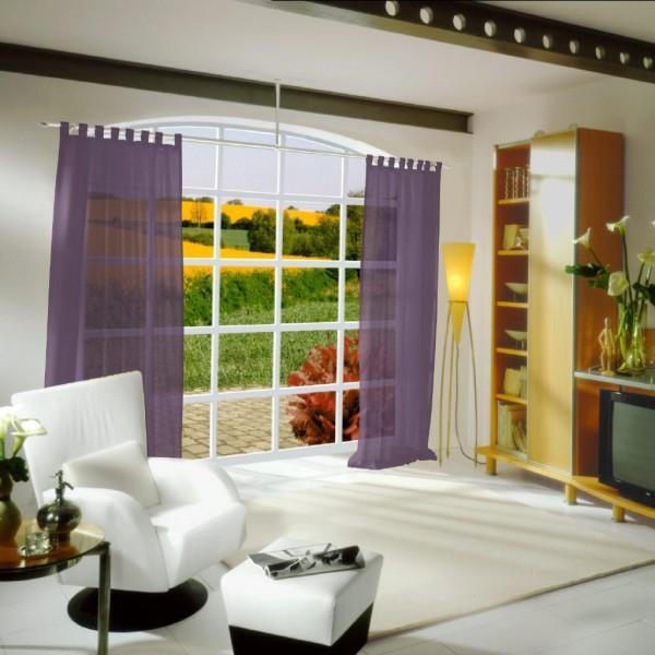gardinen uni voile nach ma schlaufenschal voile violett gardinen nach ma schlaufenschals. Black Bedroom Furniture Sets. Home Design Ideas